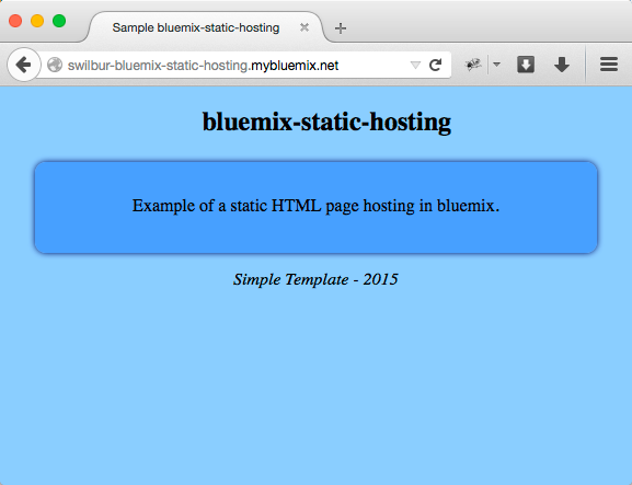 Simple Bluemix hosted static site