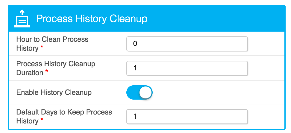 System Settings for Process History Cleanup
